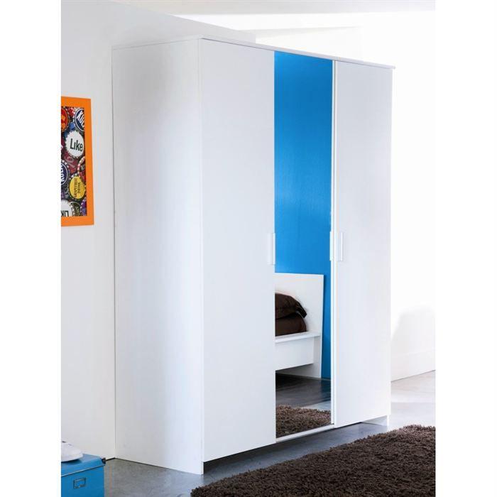 esther armoire 3 portes blanche achat vente armoire de. Black Bedroom Furniture Sets. Home Design Ideas