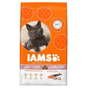 IAMS Croquettes au saumon et au poulet - Toutes races - 3kg - Pour chat adulte