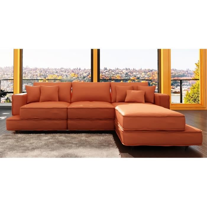 Canap d 39 angle en cuir orange boston achat vente - Canape d angle orange ...