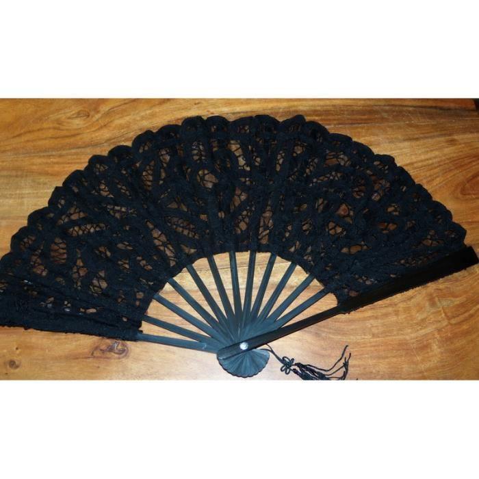 eventail noir brode main 27 cm dentelle luxeuil achat vente b ton p e baguette cdiscount. Black Bedroom Furniture Sets. Home Design Ideas