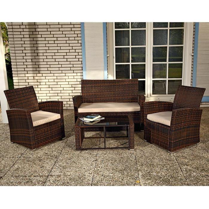 salon de jardin en r sine tress e marron achat vente salon de jardin salo. Black Bedroom Furniture Sets. Home Design Ideas