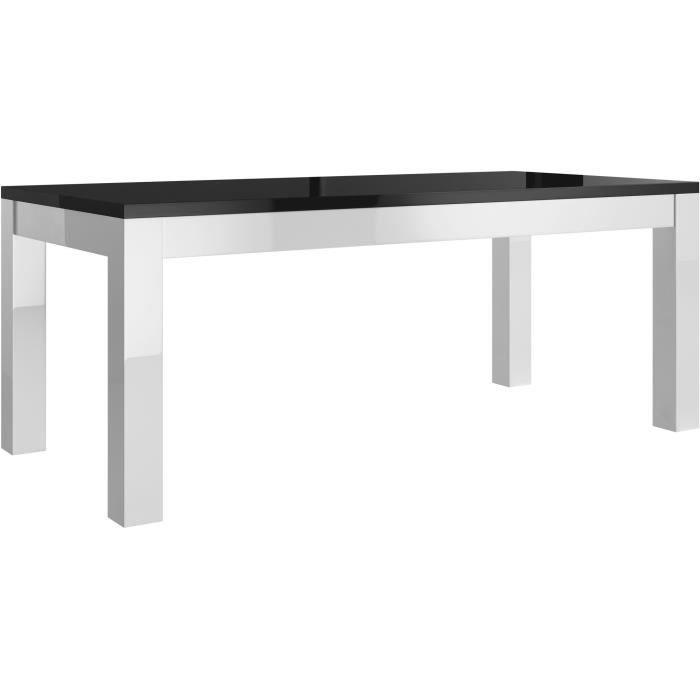 Table salle manger coloris blanc et noir 190cm blanc et noir achat vent - Table salle a manger noir et blanc ...