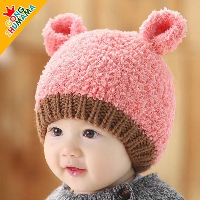 chapeau pour b b 0 12 mois d 39 automne et d 39 hiver petit chapeau rose achat vente casquette. Black Bedroom Furniture Sets. Home Design Ideas