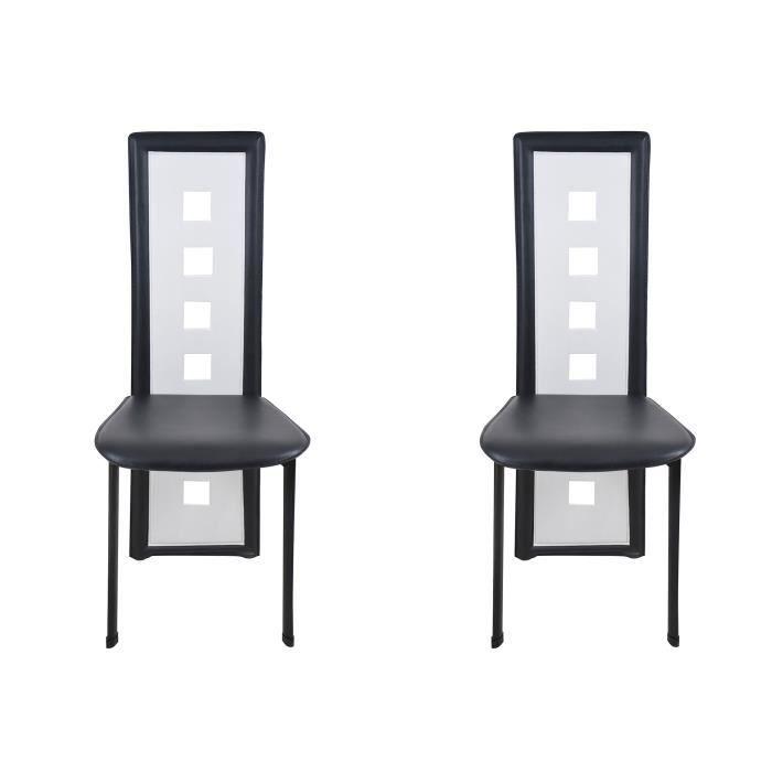 CHAISE Chaises design Kim noir blanc - Lot de 2 Moloo