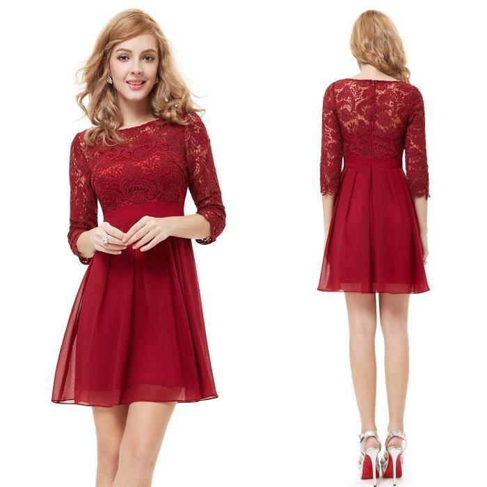 Robe dentelle rouge bordeaux