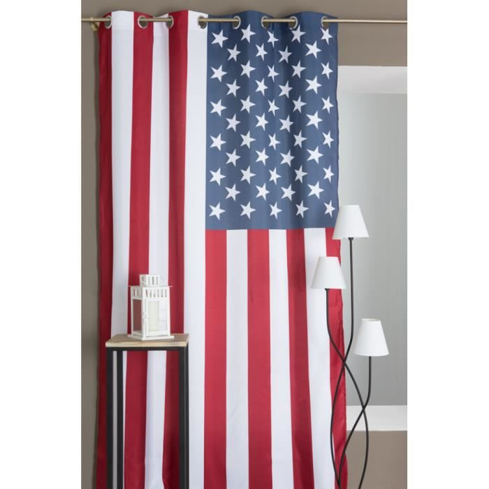 rideau motif drapeau usa 140 x 240 bleu 140 x 240 cm achat vente rideau les soldes sur. Black Bedroom Furniture Sets. Home Design Ideas