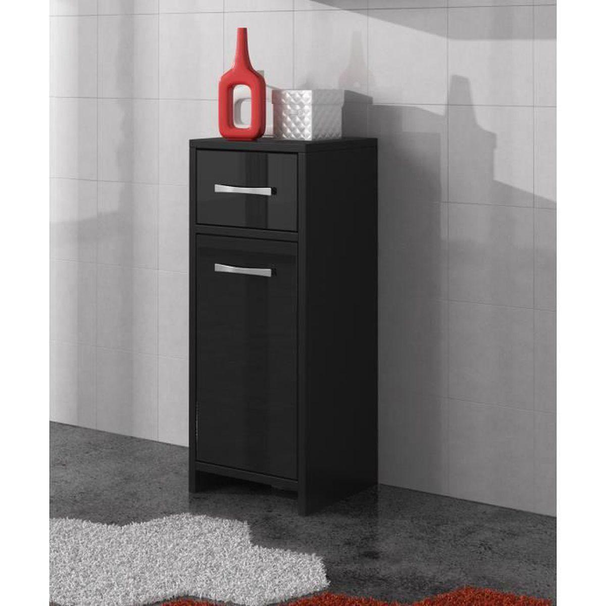 Armoire de rangement de nemo hauteur 79 cm noir brillant for Armoire haute de salle de bain