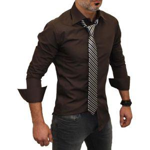 chemise homme marron achat vente chemise homme marron pas cher. Black Bedroom Furniture Sets. Home Design Ideas
