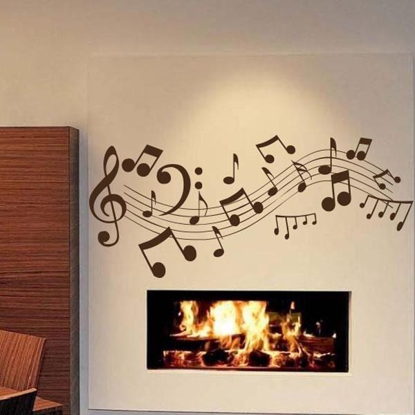 Sticker notes de musique noir 59x134 cm achat for Decoration murale note de musique