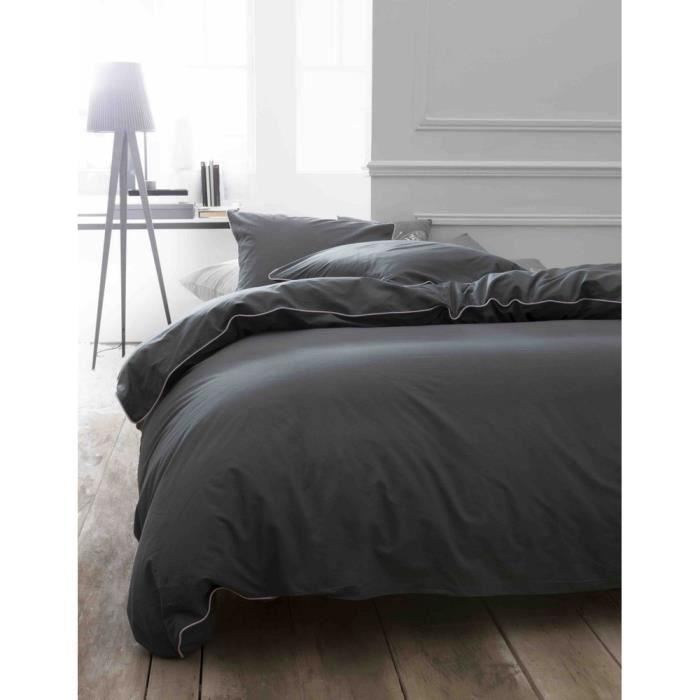 housse de couette 220x240 elina gris liseret rose achat vente parure de couette soldes d. Black Bedroom Furniture Sets. Home Design Ideas