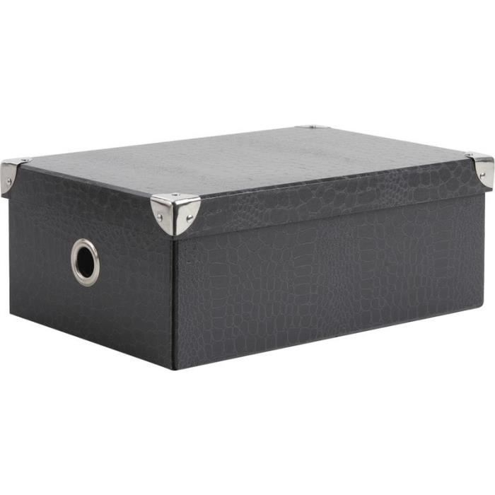 boite en carton gris achat vente boite de rangement carton m tal cdiscount. Black Bedroom Furniture Sets. Home Design Ideas