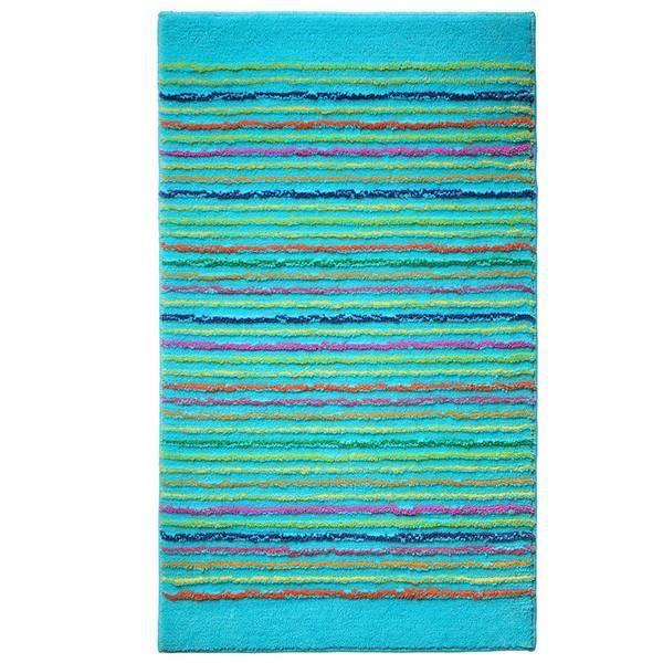 tapis de salle de bain bleu cool stripes par es achat vente tapis de bain cdiscount. Black Bedroom Furniture Sets. Home Design Ideas