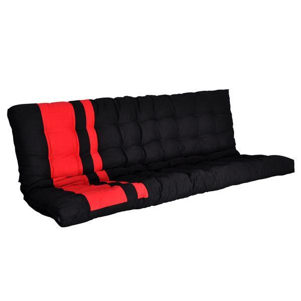 matelas pour banquette 135x190 noir et rouge zino achat vente matelas cdiscount. Black Bedroom Furniture Sets. Home Design Ideas