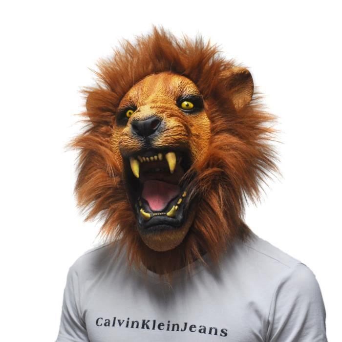 accessoires d halloween t te de lion en col re adulte masques mascarade complet latex animaux. Black Bedroom Furniture Sets. Home Design Ideas
