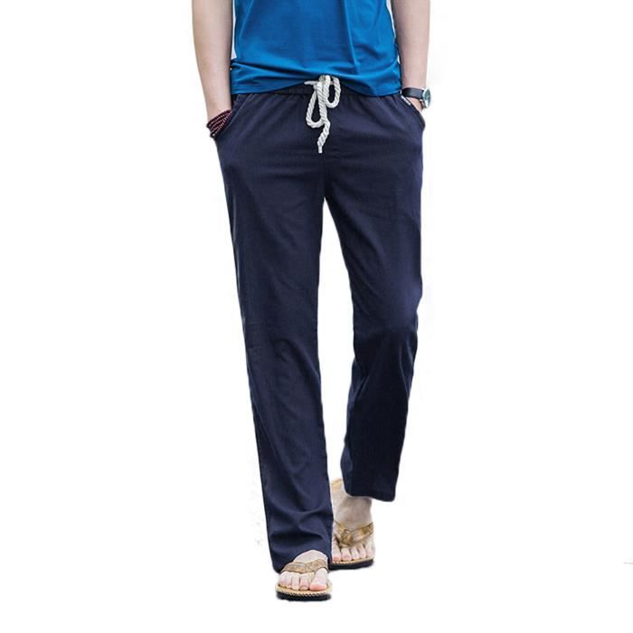 pantalon en lin de loisirs homme respirant avec bleu. Black Bedroom Furniture Sets. Home Design Ideas