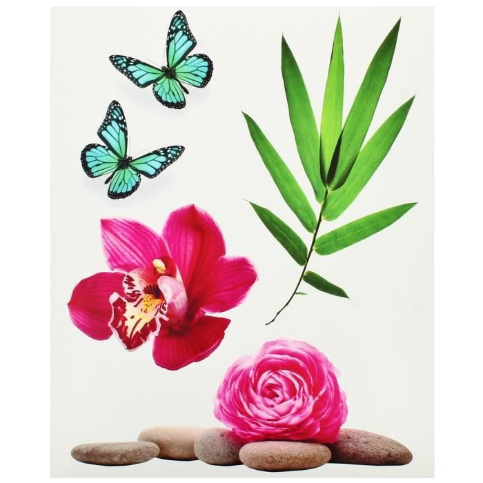 Planche Lot 5 Stickers Deco Zen Galets Fleur Ro.