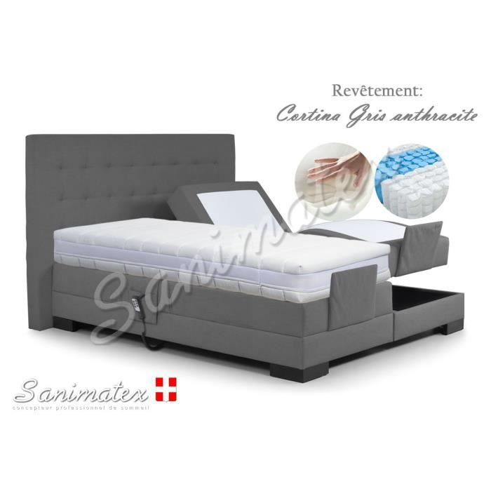 lit electrique boxspring 180x200 kilimanjaro amazonia gris anthracite achat vente lit. Black Bedroom Furniture Sets. Home Design Ideas