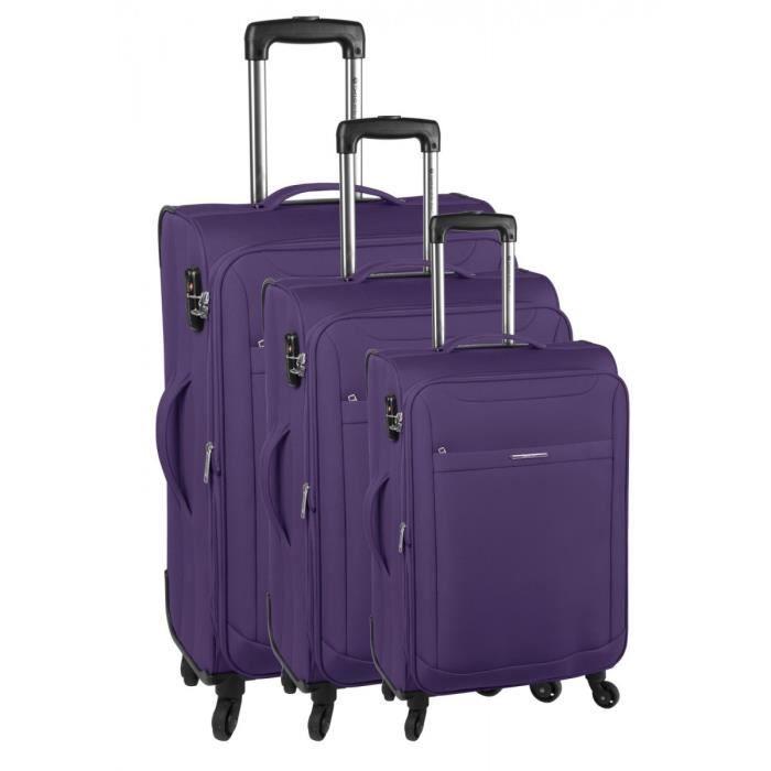 bagage snowball lot de 3 valise tissu violet achat. Black Bedroom Furniture Sets. Home Design Ideas