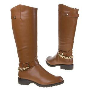 BOTTE bottes cavalière cuissarde camel femme 37 boucle c