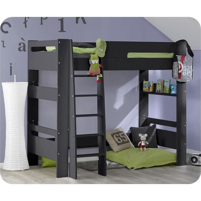 eb pack lit mezzanine enfant wax gris anthracite 90 x 190 cm avec matelas achat vente lit. Black Bedroom Furniture Sets. Home Design Ideas