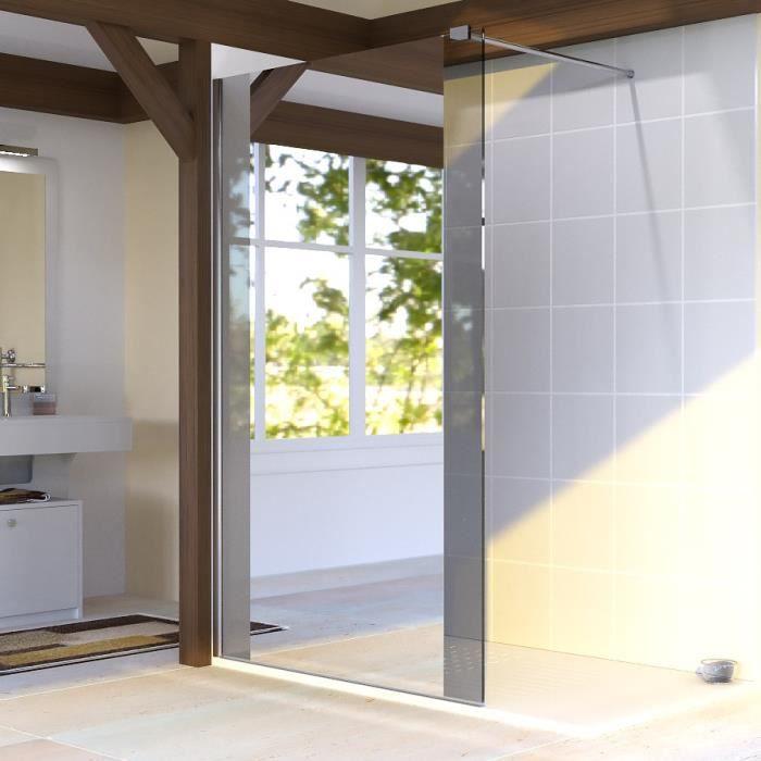 Paroi de douche fixe 8 mm baya 120 cm avec miroir for Porte douche miroir