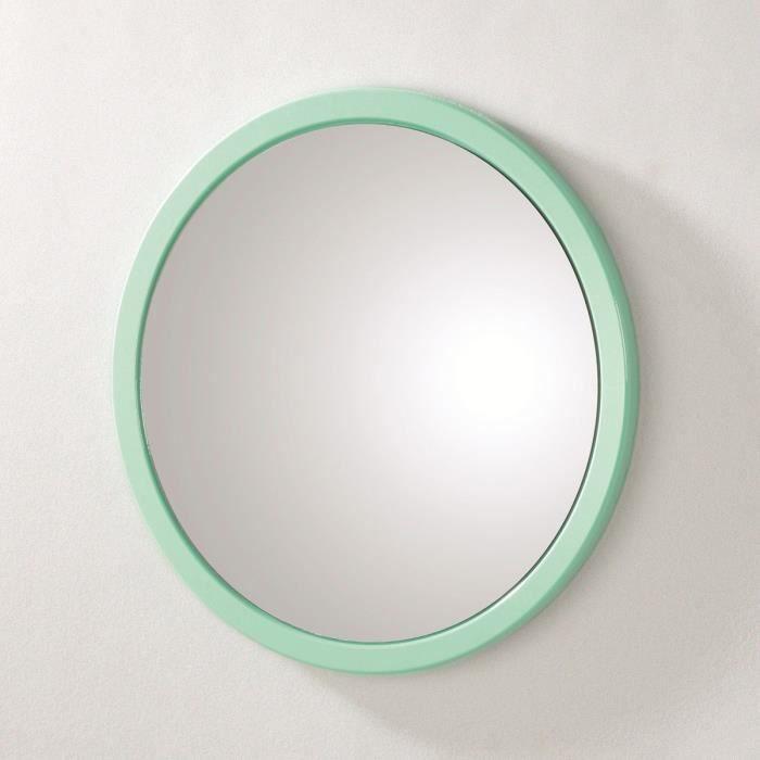 miroir mural rond syla menthe achat vente miroir salle de bain pvc et mdf cdiscount. Black Bedroom Furniture Sets. Home Design Ideas