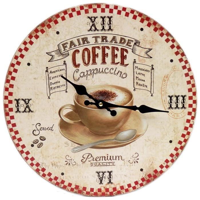 Pendule horloge murale cappuccino en bois m tal publicitaire caf bistro an - Pendule murale rouge ...