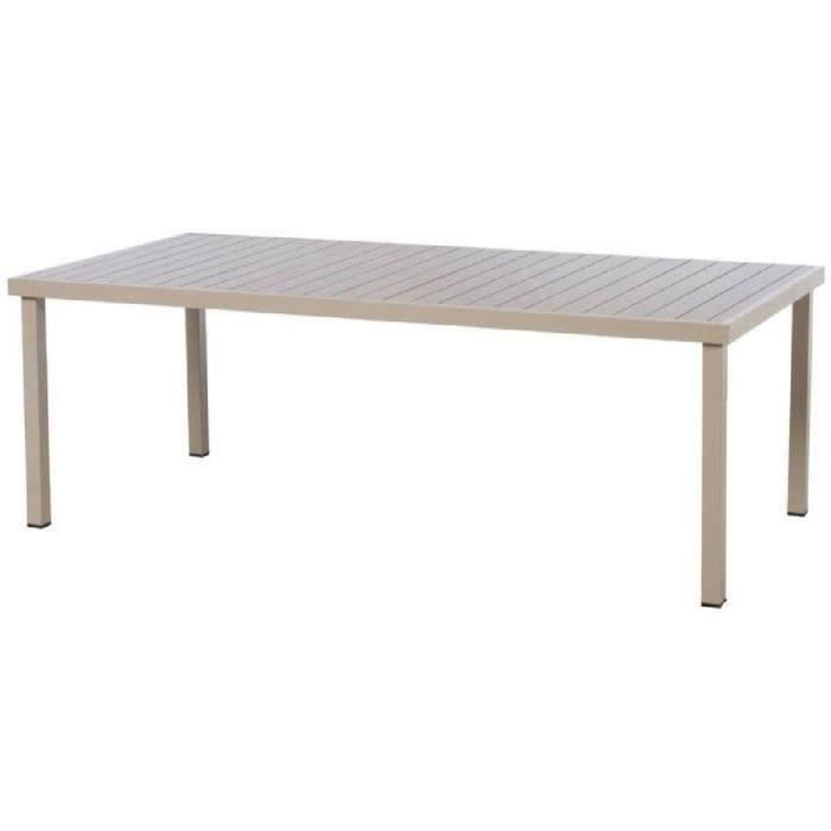 Table Rectangle De Jardin En Aluminium De Coloris Taupe