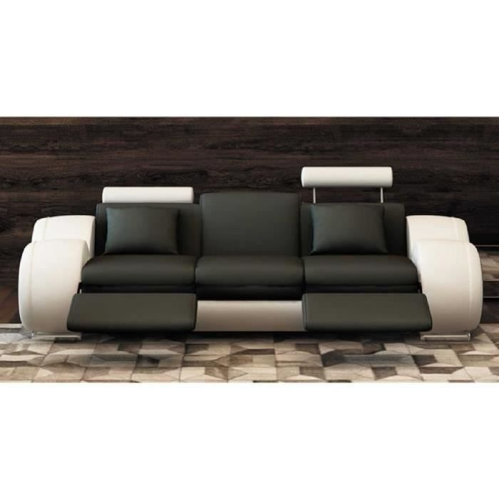 Canap design 3 places cuir noir et blanc appuies tetes for Canape 9 10 places