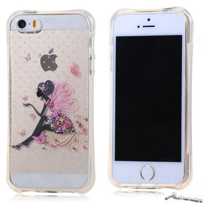coque pour apple iphone se 5s 5 l 39 ange fille silicone soft tpu ultra mince protection case. Black Bedroom Furniture Sets. Home Design Ideas