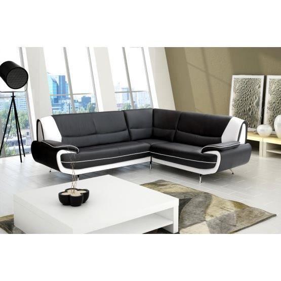 canap angle jana noir et blanc droit achat vente. Black Bedroom Furniture Sets. Home Design Ideas