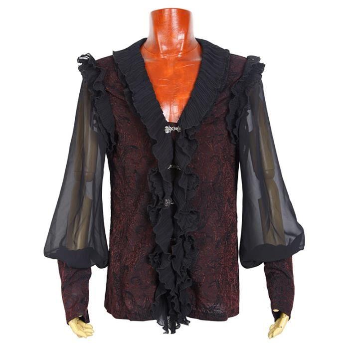 chemise noire et rouge manches bouffantes tansparente col femeture effet jabot taille homme. Black Bedroom Furniture Sets. Home Design Ideas
