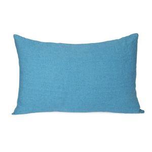coussin st tropez coussin 100 lin lav coloris bleu aqu - Coussin Color Pas Cher