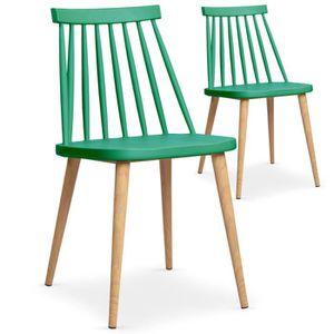 CHAISE Lot de 2 chaises scandinaves Trouville Vert