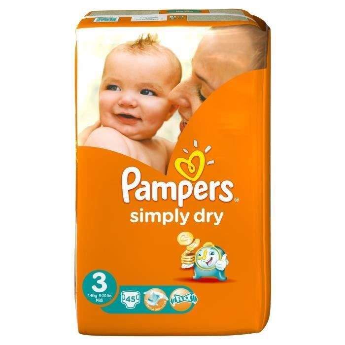 pampers simply dry taille 3 4 9kg 45 couches. Black Bedroom Furniture Sets. Home Design Ideas