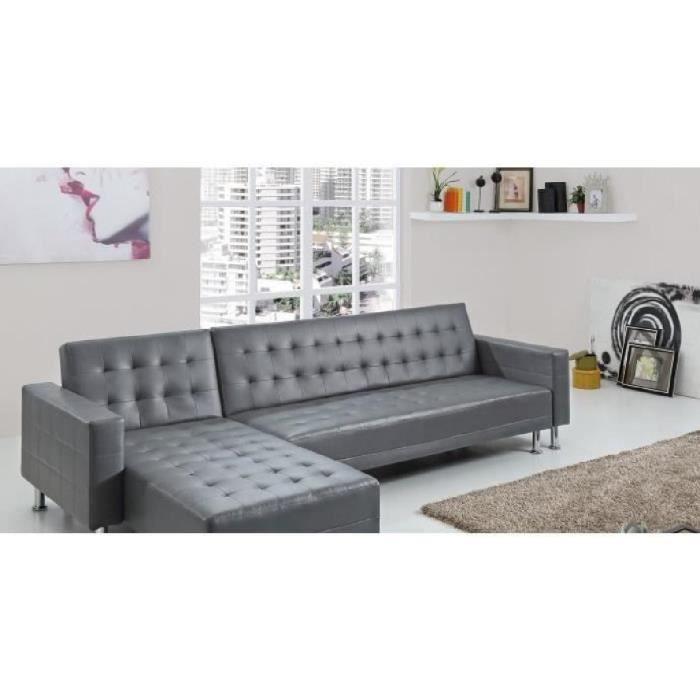 le silba gris canape dangle 5 places convertible lit. Black Bedroom Furniture Sets. Home Design Ideas