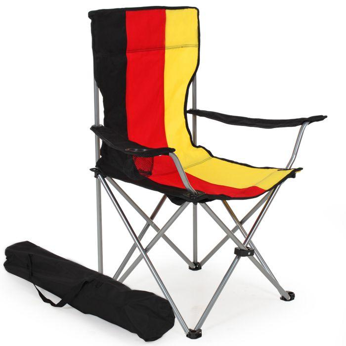 1 chaise de camping pliable avec porte boisson et housse for Housse de chaise rouge pas cher