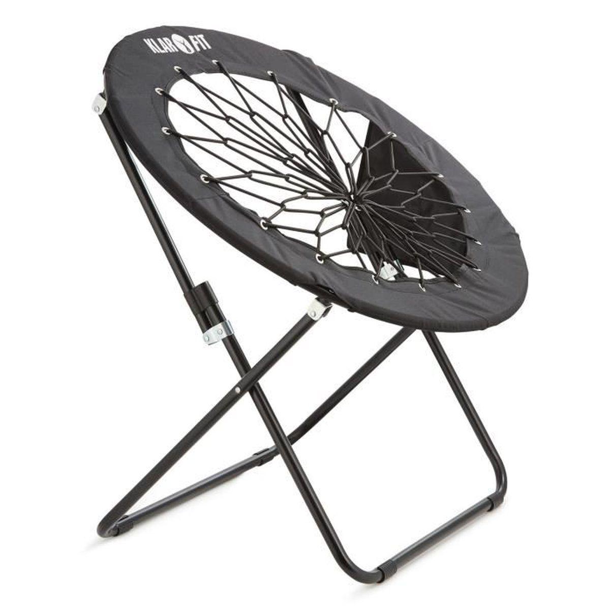 klarfit bounco chaise bungee lastique pliable 81x41 85 cm noire achat vente fauteuil. Black Bedroom Furniture Sets. Home Design Ideas