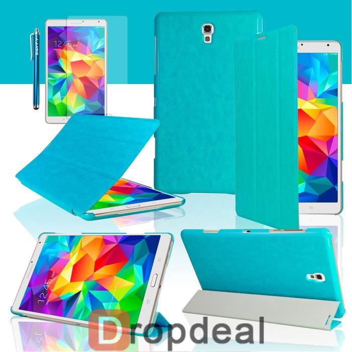 Housse coque luxe cuir galaxy tab s 8 4 bleu prix pas for Housse galaxy tab s