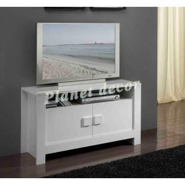 Meuble tv modele pisa blanc achat vente meuble tv for Modele meuble tv