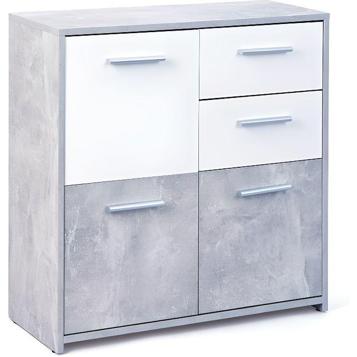 Marry b ton meuble 3 portes 2 tiroirs gris achat for Meuble 3 portes occasion