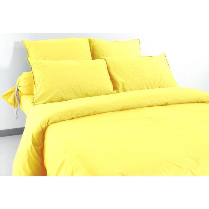 drap housse 140x190 cm bonnet 30 cm 100 coton effet froiss gamme palace couleur safran achat. Black Bedroom Furniture Sets. Home Design Ideas