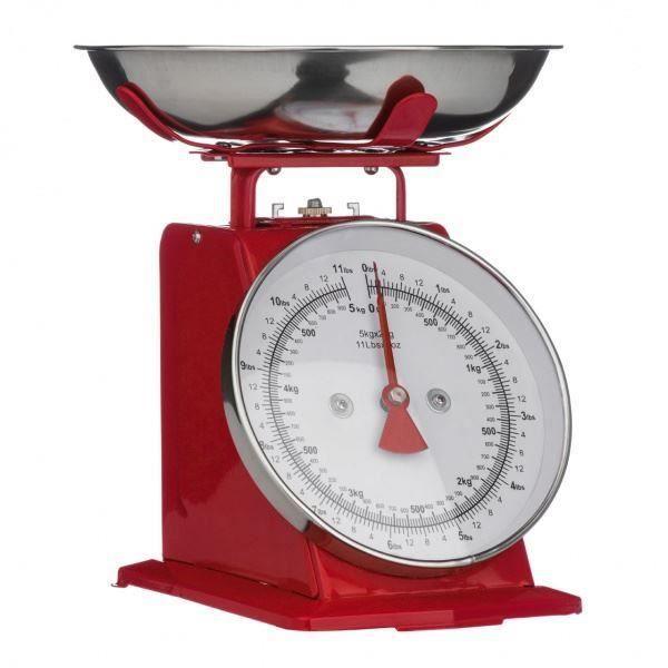 balance de cuisine rouge style r tro avec bol en acier inoxydable poids max 5kg achat vente. Black Bedroom Furniture Sets. Home Design Ideas