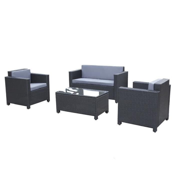 Salon de jardin en r sine tress e noir canap 2 fauteuils table basse a - Salon de jardin resine cdiscount ...