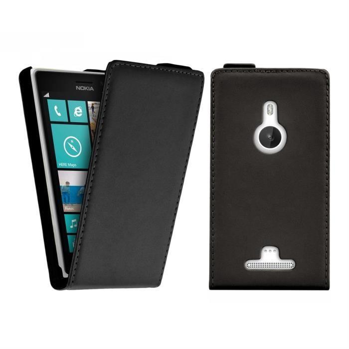 kwmobile housse rabat en cuir pour nokia lumia 925 avec. Black Bedroom Furniture Sets. Home Design Ideas