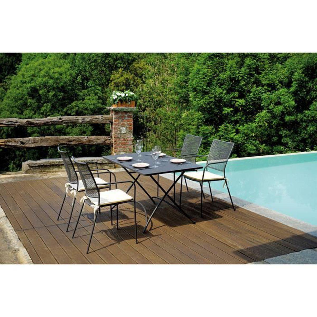 Ensemble de jardin table rectangulaire 120 x 80 cm 4 - Ensemble table de jardin promotion ...