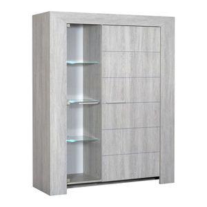 LATHI Buffet haut 2 portes gris clair