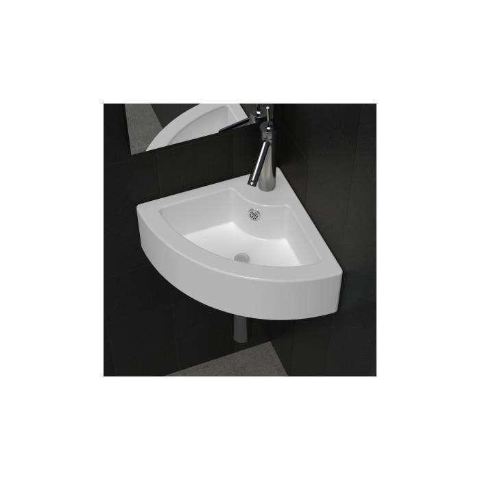 vasque 224 poser lave angle blanc en c 233 ramique trop plein achat vente lavabo vasque