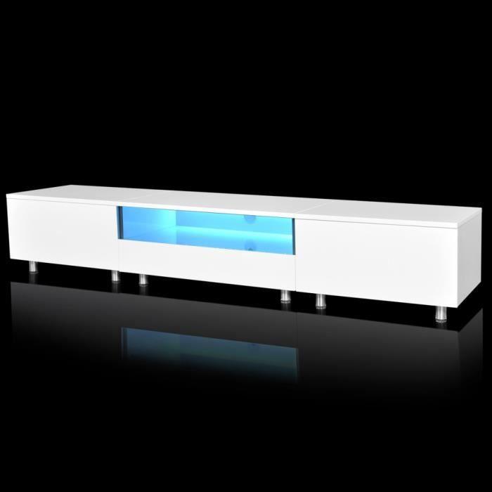 Magnifique meuble tv led blanc brillant 200 cm achat - Meuble tv 200 cm blanc ...