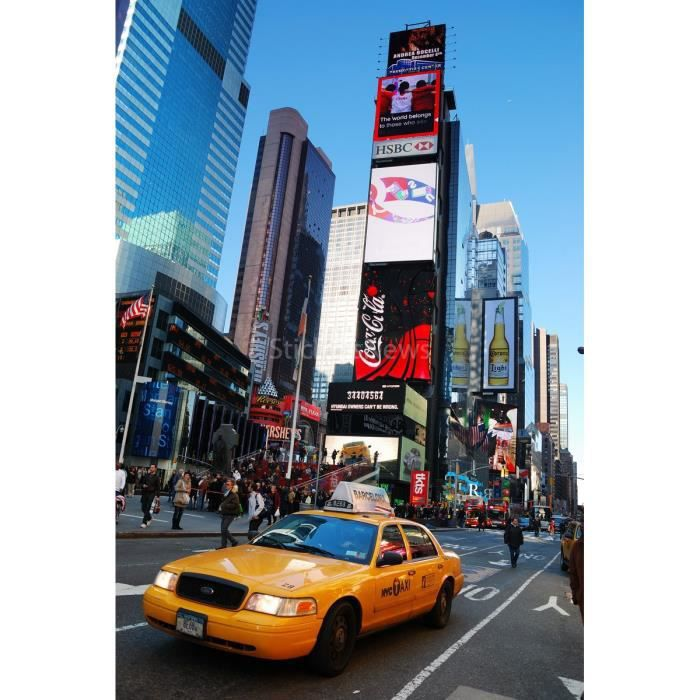 Stickers autocollant ou affiche poster taxi jaune new york for Autocollant mural new york